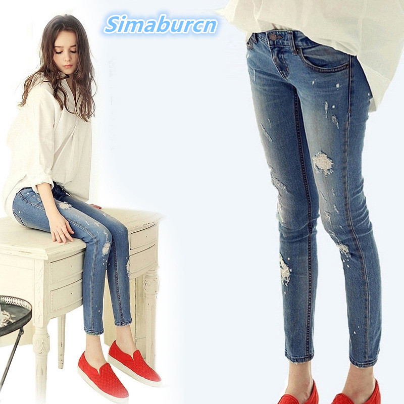 2017 Ankle-Length Jeans For Women Skinny Denim Jeans Femme Stretch Ladies Jeans Slim Hole Mid Waist Pencil Pants For Female tangnest skinny candy pencil jeans pants women 2017 ladies trousers mid waist full length zipper stretch pant for femme wkp004