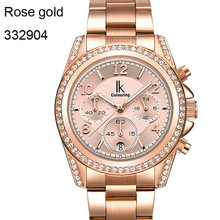 Rose Gold Women Watch Chronograph Sub Dial Full Steel Crystal Rhinestone Dress Auto Date Quartz Watches