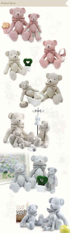 Luksusowa 25cm ręcznie robiona zabawka laleczka bobas dla dzieci wysokiej jakości wzór w paski design wysokiej jakości pluszowego misia