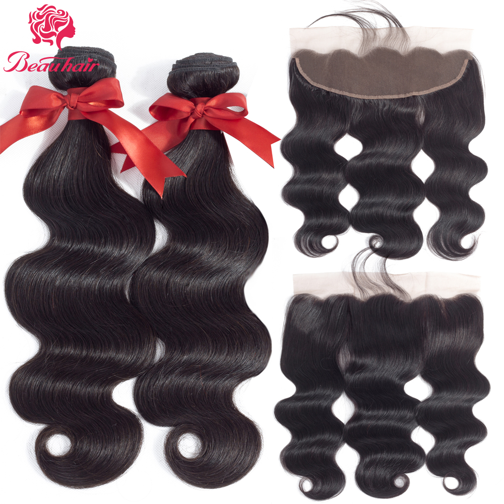 Beauhair 2 Bundles With Lace Frontal Malaysia Body Wave Natural Color Ear To Ear 13x4 lace closure Human Hair Extension