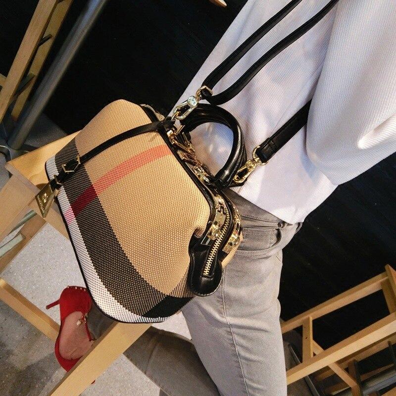 Dames sac à main 2018 femmes toile cuir sacs à main sacs à main Plaid docteur sac de haute qualité grande capacité femme sac à bandoulière noir - 4