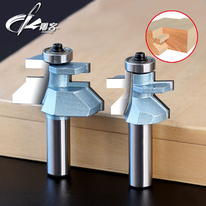 1/2 Shank Matched Tongue & Groove V- Notch Router Bit Set Wooden CNC endmill Door Construction 2pcs/lot 2pcs lot matched tongue and groove router bit set edge banding 1 2 shank