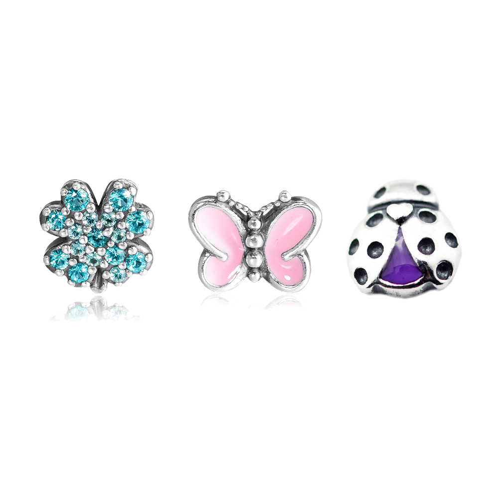 925 Sterling Silver Charms Green Lucky Four-Leaf Clover Butterfly Ladybug Petite Charms Fits Locket Pendants Necklaces925 Sterling Silver Charms Green Lucky Four-Leaf Clover Butterfly Ladybug Petite Charms Fits Locket Pendants Necklaces