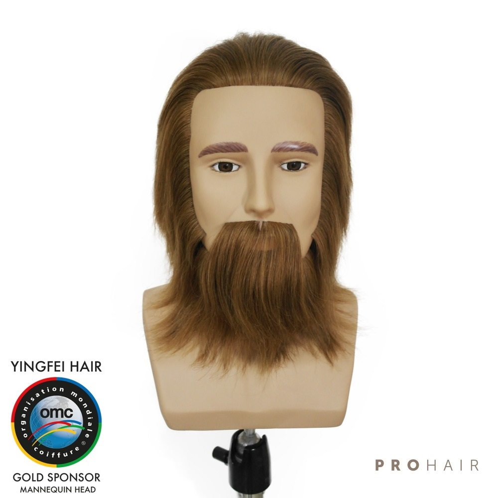 PROHAIR OMC Approved 17CM 7 100 Human Hair Dark Brown Competition Head Hairdressing Mannequin Head for