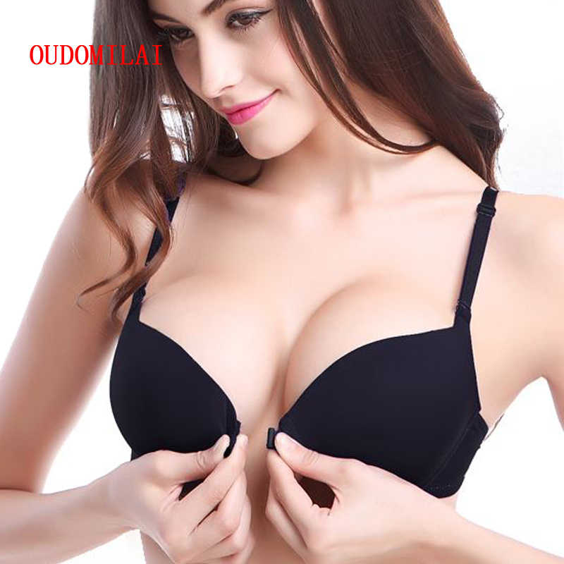 5f2bd992b7 OUDOMILAI 2018 New Bras For Women Sexy Bh Front Closure Deep V Push Up Bra  Smooth