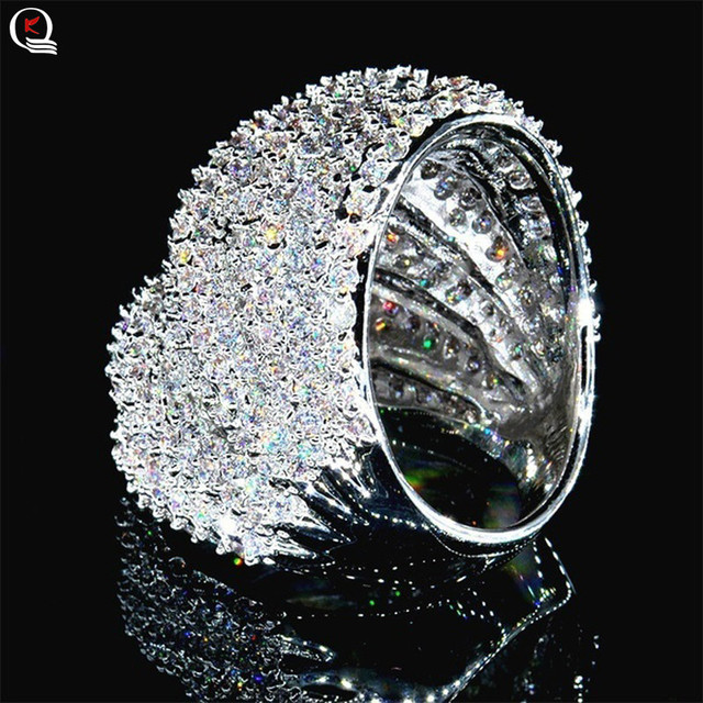 Luxurious Shining Crystal Ring for Women Geometric Hyperbole Big Ring Fashion Cocktail Party Silver Ring Fine Jewelry Gifts