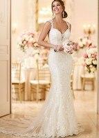 Vestido de Noiva 2018 Mermaid Wedding Dress See Through Bodice Sexy Wedding Gown Robe de mariage White Backless Dresses