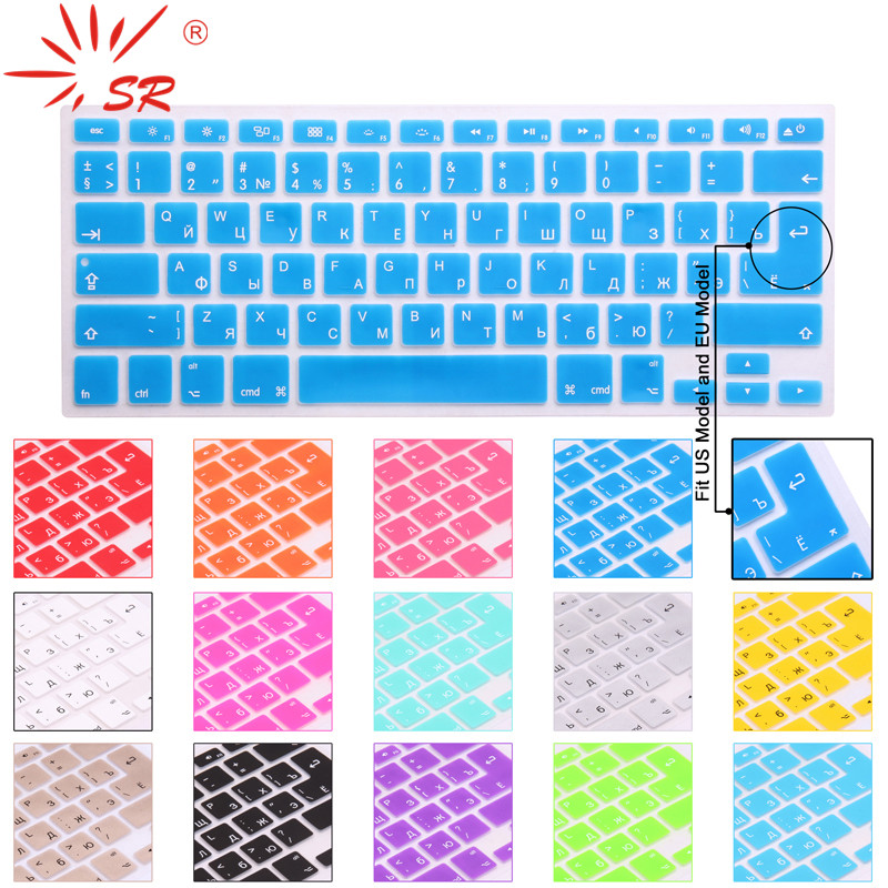 SR 14 Color US/EU Common Russian Language Letter Silicone Keyboard Cover Sticker For Macbook Air Pro 13 15 17 Protector Film цена