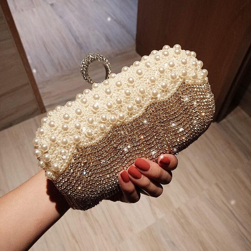 Crystal Purse Evening-Bags Clutch Pearl Silver Beaded Diamonds Bolsos-Mujer Women Tassel