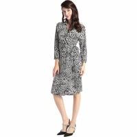 NOWY Kobiety leopard print wrap dress długim rękawem w stylu vintage długie luźne sukienki połowie łydki party Vestidos robe muzułmanek odzież