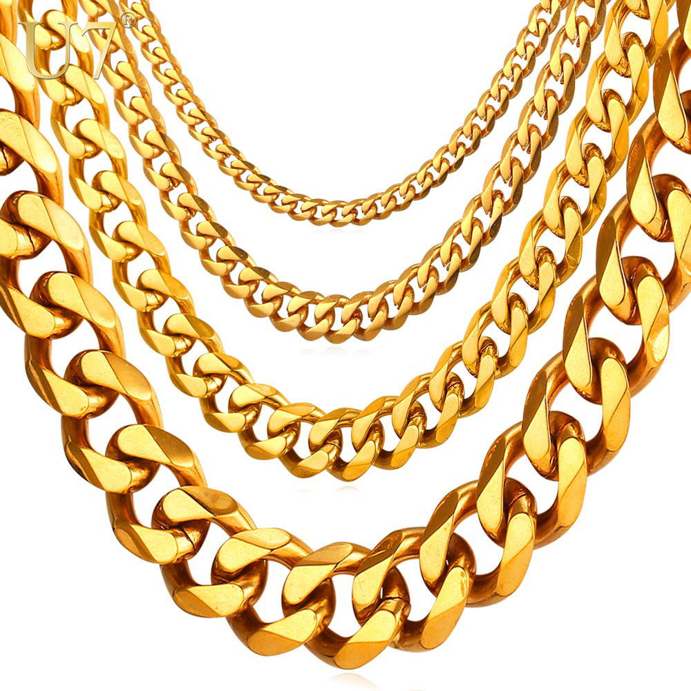 Zibborcom Cuban Link Chain Men Gold Color Stainless Steel Hiphop