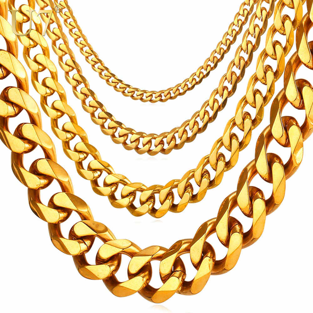 U7 kubański Link Chain mężczyźni złoty kolor stal stalowe długie/Choker duży masywny minimalistyczny raper naszyjnik łańcuch Hiphop biżuteria N001