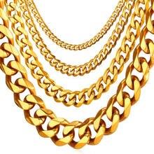 U7 Хип Хоп Позолоченные Звено Цепи Ожерелье Мужчины Ювелирные