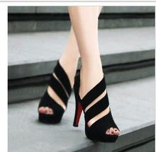 Discount cheap black gladiator peep toes sexy red bottom high heels sandals Pumps women shoes spring summer 2014