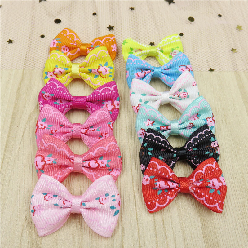 2PCS/LOT Lovely Flower Small Bow Hairpin For Girls Handmade Child Elastic Hair Bands Scrunchy Clip Hair Accessories For Kids