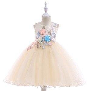 Image 2 - 2020 חדש סגנון תחרה ילדה מסיבת שמלות אלגנטי אפליקציות פרח ילדה נסיכת שמלת ילדה קיץ ילדה שמלת 3 8 שנה L5029