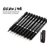 SAPERE 9 pz/set Nero Pigmento Fodera Neelde Acqua a prova di Disegno A Penna Pigma Micron Sunproof Penna di Indicatore Per Il Disegno Gancio penna di arte