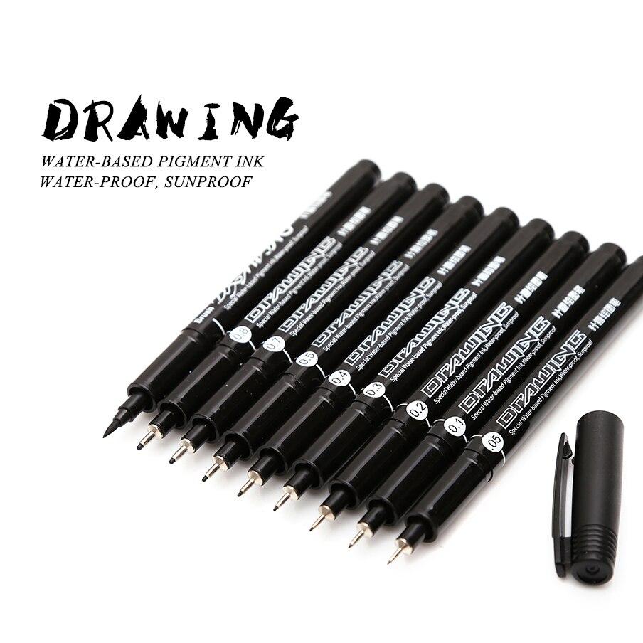 Saber 9 unids/set delineador de pigmento negro Neelde a prueba de agua pluma de dibujo Pigma micrón rotulador a prueba de Sol para dibujar anzuelo pluma de arte