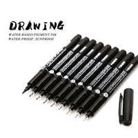 WISSEN 9 teile/satz Schwarz Pigment Liner Neelde Wasser-beweis Zeichnung Stift Pigma Micron Sunproof Marker Stift Für Skizzieren Haken kunst Stift