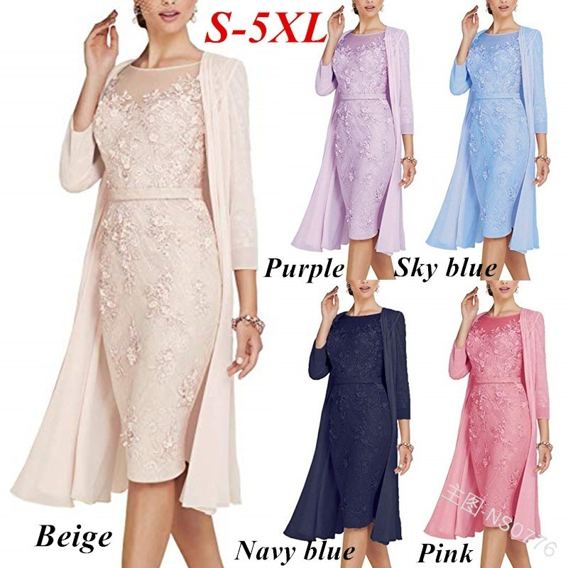Summer Autumn Dress Women 19 Casual Plus Size Slim Office Bodycon Dresses Sexy Elegant Hollow Out Lace Party Dress Cloak Set 3