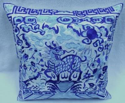Полная вышивка Кирин чехлы для диванов китайские декоративные подушки высокого класса винтажные этнические рождественские наволочки 45x45 - Цвет: Белый