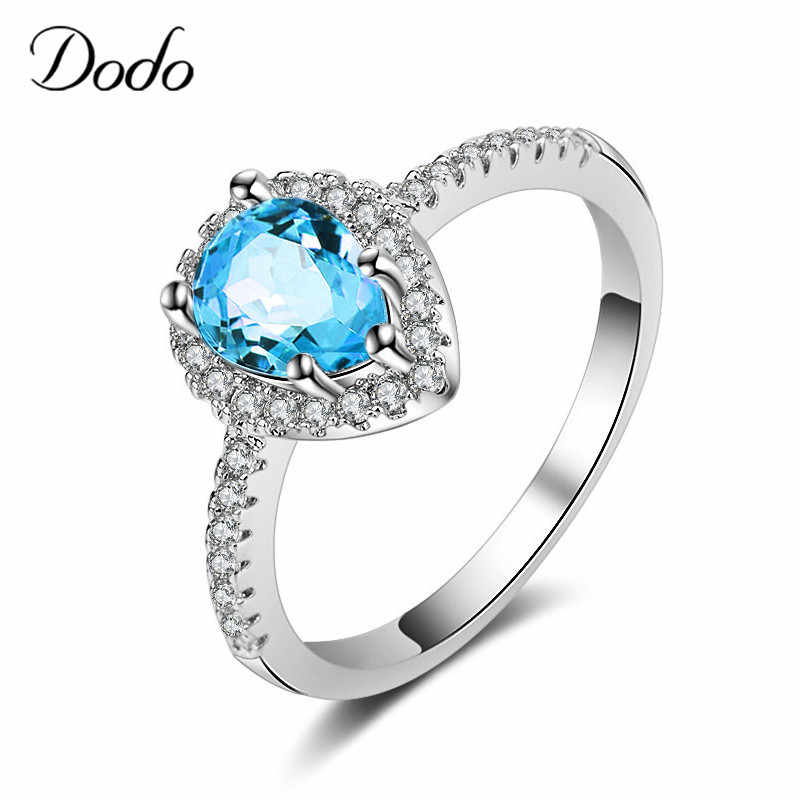 294b9b3f5fd79 Elegant Female Stone Ring Zirconia Rings Blue Water Drop 585 White ...