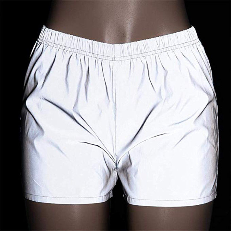 Hot Women Luminous Shorts Reflective Plain Color Clubwear Party Dance Costume Wear Fashionable Elatic Midi Waist Bottoms Summer