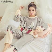 Winter Sleepwear Women Pajamas Lady Pyjama Two Piece Indoor Clothing Cartoon Home Suit For Female Plus