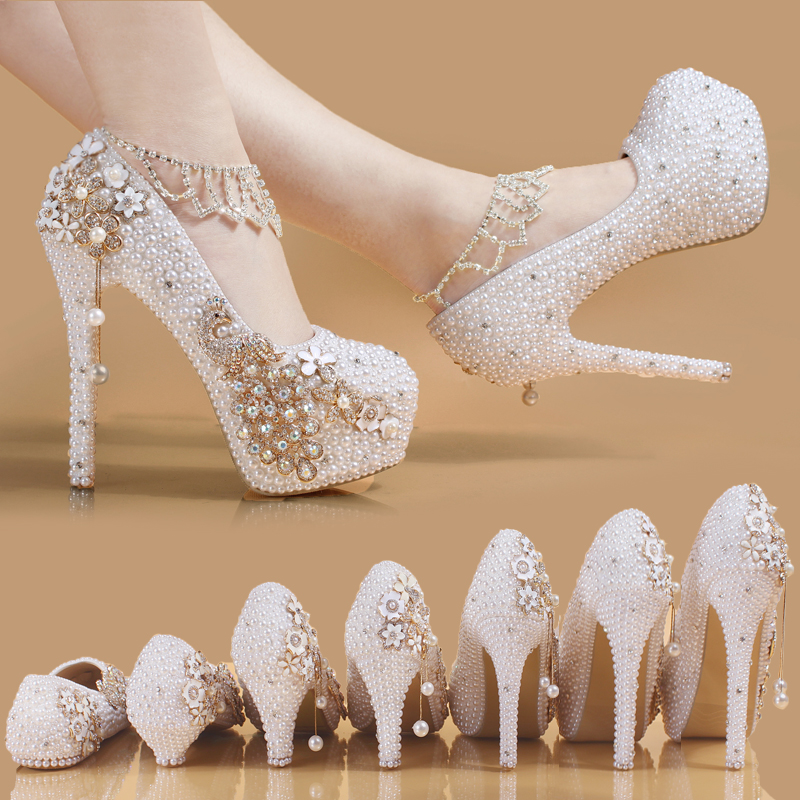 Sweet Flower Silver Crystal Women Wedding Shoes Pumps High Heels Pearl Platform Rhinestone Bride Dress Shoes Girl Custom Gift carollabelly sweet flower women pumps high heels lace platform pearls rhinestone wedding shoes bride dress shoes summer sandals