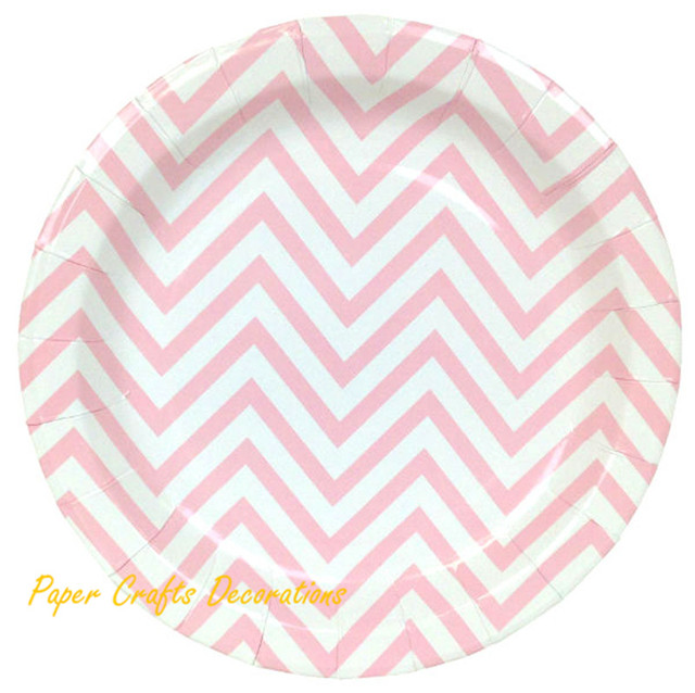 24pcs/lot 9inch Baby Pink Chevron Theme Party Round Paper Plates Wedding Decor Cupcake Party  sc 1 st  AliExpress.com : cupcake paper plates - Pezcame.Com