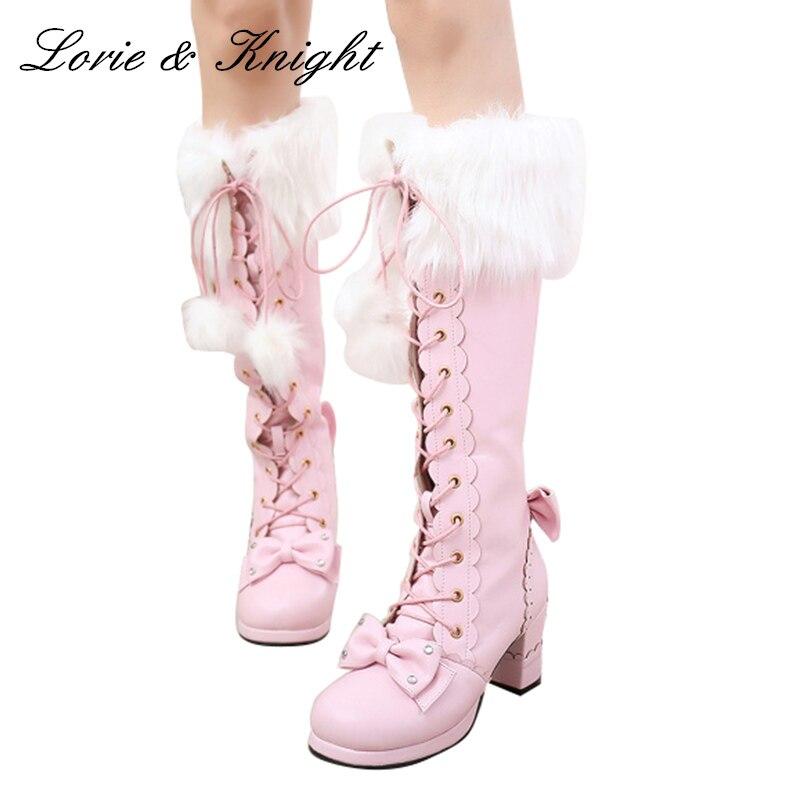Japanese Style Sweet Lolita Long Boots Lace Up Bow Princess Boots Chunky High Heels Winter Boots princess sweet lolita parkas in the winter of new women s original japanese sweet fox fur collar long sleeved coat c22cd7219