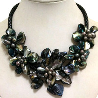 16-17 inches Natural Leather Cord Five Black Shell Flower Women Handmade Black Pearl Necklace