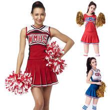 adf51e933 S-XL Red Blue Adult Sexy High School Cheer Musical Glee Cheerleader  Costumes Cheer Girls Uniform Party Outfit Tops with Skirt