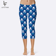 2019 New Arrival Summer Capri Leggings 3d Print Octopus Leggins High Elasticity Sport  Plus Size Mid Calf Women