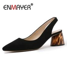 ENMAYER  Genuine Leather Zapatos De Mujer Tacones Women Shoes High Heel Heels Size 34-39 ZYL2619