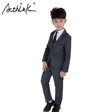 ActhInK 2019 Fashion New Design Boy Grey Formal Suit 3Pcs Boys Spring Wedding Ceremony Costume Kids Waistcot