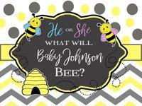 Custom Bee Gender Reveal Polka Dot Chevron Baby Shower background Computer print party photo backdrop