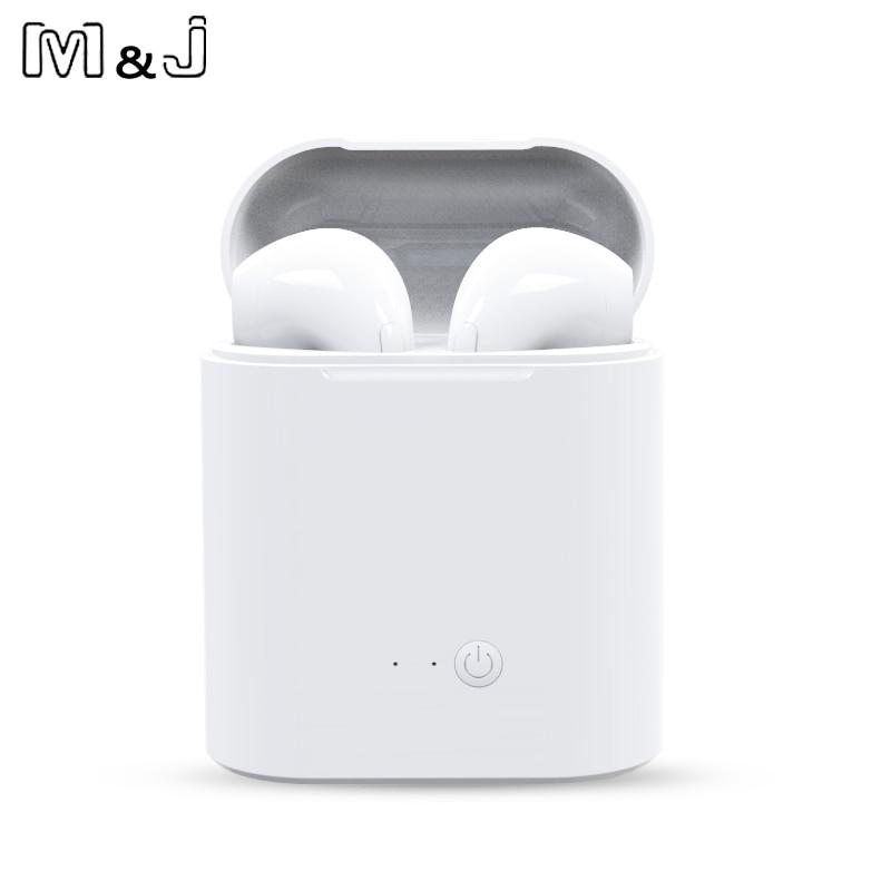 Лидер продаж M & J i7s СПЦ мини беспроводной Bluetooth наушники стерео вкладыши гарнитура с зарядки Box Mic для всех смартфон