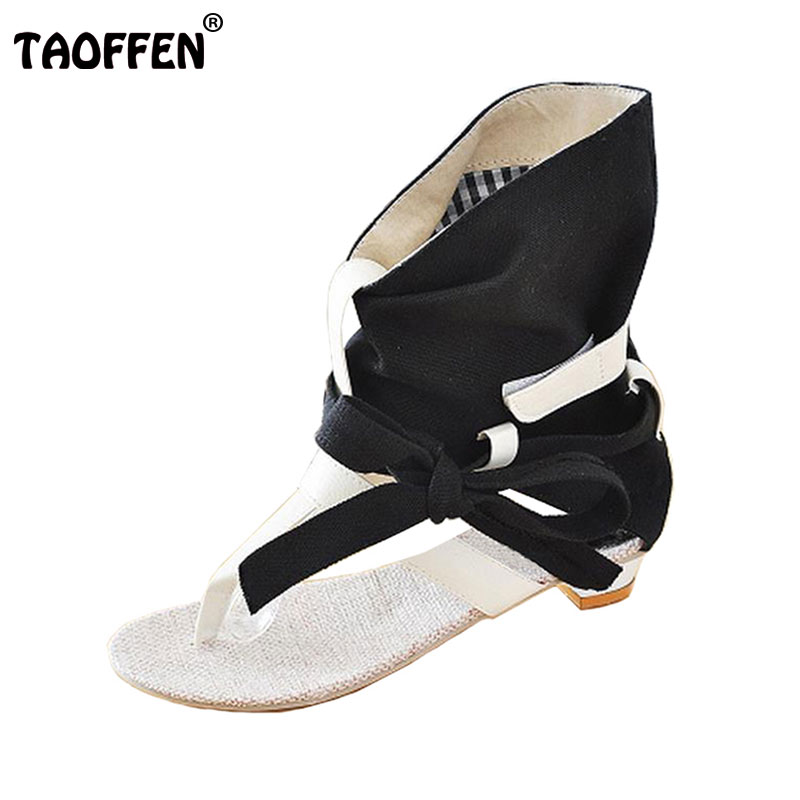 TAOFFEN Size 34-43 Women Ladies  Flat Sandals Fashion Dress sexy Flats Summer High Heels Shoes Slippers Footwear Sandals women flat sandals fashion ladies pointed toe flats shoes womens high quality ankle strap shoes leisure shoes size 34 43 pa00290