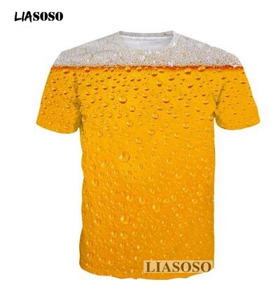 LIASOSO women Tshirt Summer Beer 3D Full Print Hamburgers T Shirt Fries men Tee Top fashion Unisex Food T-shirt Clothing T3699 image