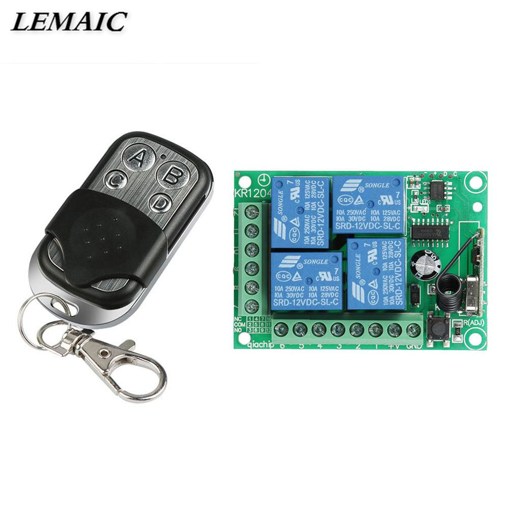 433Mhz Universal DC 12V 4CH Wireless Remote Control Switch Relay Receiver Module and RF 433 MHz Transmitter For Smart Switch Diy