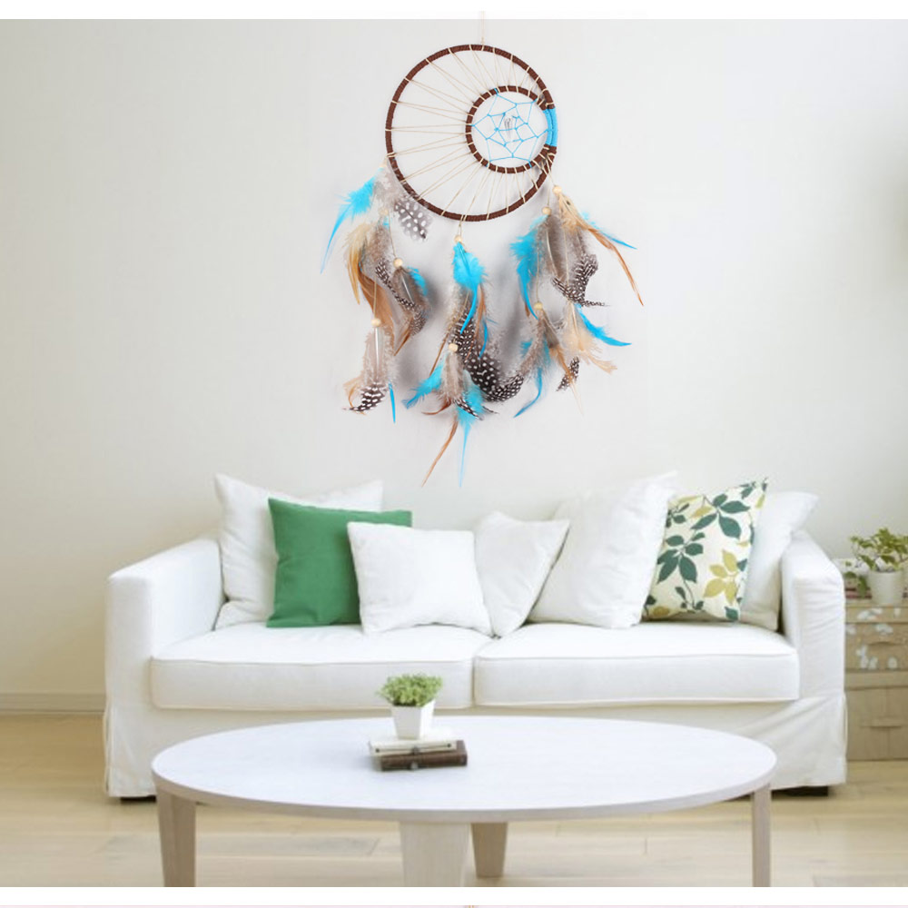 Antique Imitation Dreamcatcher Gift checking Dream Catcher Net With natural stone Feathers Wall Hanging Decoration p20