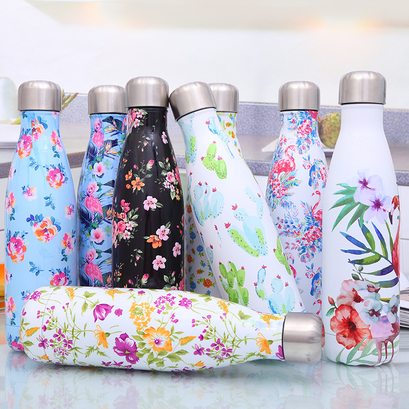 Flamingo Water Bottle Vacuum Cup Stainless Steel Insulated Coffee Thermos Sport Travel Thermo Bottle 500ml Drink