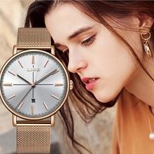 LIGE Luxury Casual Ladies Watch Waterproof Rose Gold Steel Mesh Quartz Watch Women Fashion Dress Watches Clock Relogio Feminino