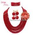 Moda Casamento Nigeriano Beads Africanos Set Jóias Conjuntos de Jóias Africano Contas de Cristal Jóias Define E1181