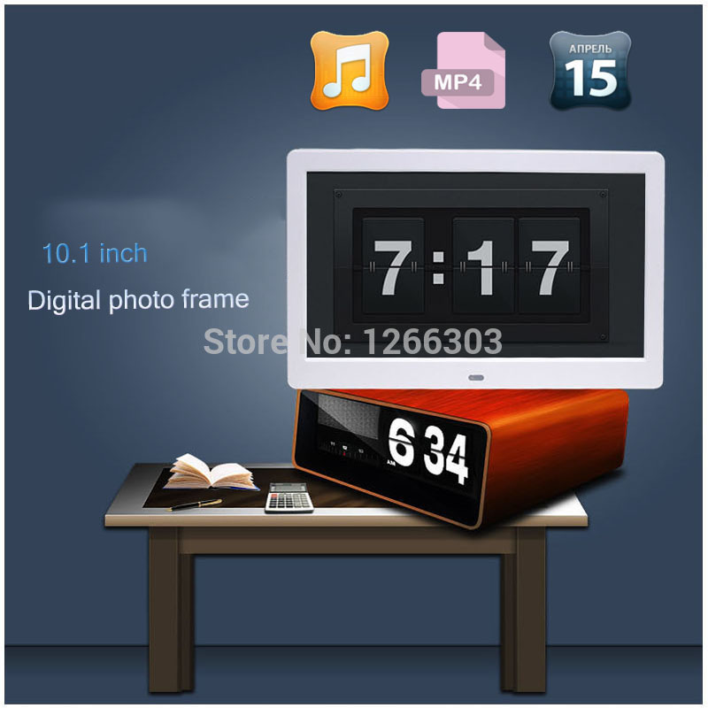 Hot sale New 10.1 inch Ultrathin HD LED-LCD Digital Photo Frame Alarm Clock MP3 MP4 Movie Player with Remote Desktop heinz 120