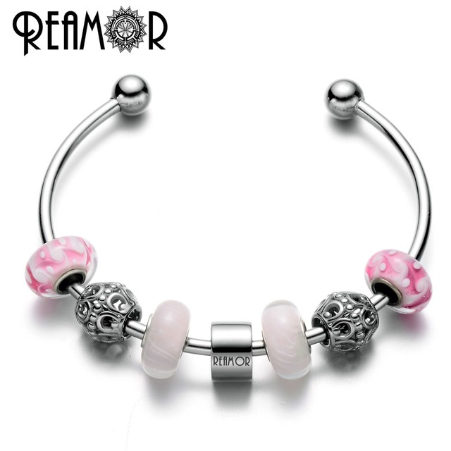 2dfe82dca5d REAMOR Brand Letter 316l Stainless Steel Lucky Horseshoe Charm Adjustable Cuff  Open Women Bracelet & Bangle With Pink Glass Bead