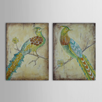 Hand Painted Retro Style Wood Oil Painting Proud Peacock in Tree Decor Set of 2