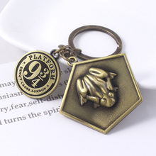 Movie HP Potter Chocolate frog Platform 9-3/4 Keychain Antique Bronze Metal Charms Key Chain For Women Men Car Keyring Jewelry