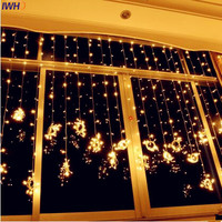 IWHD 4x3M Garland LED Christmas Lights Indoor 110 220V Fairy Light EU US Plug Luce Navidad